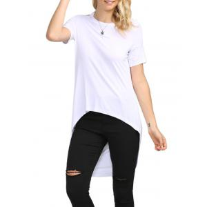 Sexy Backless Solid Color Asymmetrical Women T-Shirt - White - 2xl