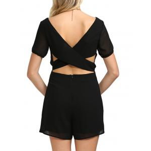 Sexy Plunging Neck Cut Out Self-tie Solid Color Women Chiffon Romper - BLACK M