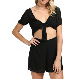 Sexy Plunging Neck Cut Out Self-tie Solid Color Women Chiffon Romper - Black - 2xl