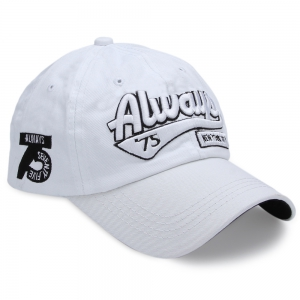 Casual Letter Print Hip-hop Sun Protection Baseball Hat for Unisex - White - Xl