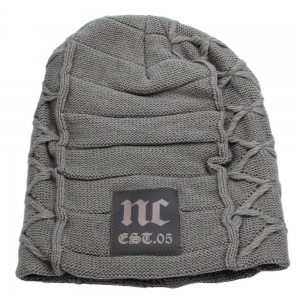 Casual Winter Warm Solid Color Knitted Hat for Men - Light Gray - M