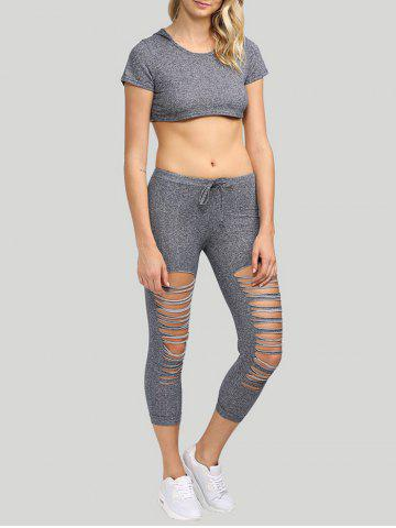 Outfits Active Hooded Frayed Cut Out Women Two Piece Sport Set