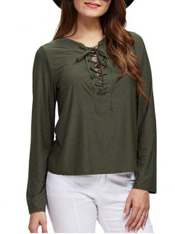 Buy Chic Round Collar Front Criss Cross Loose Women Blouse