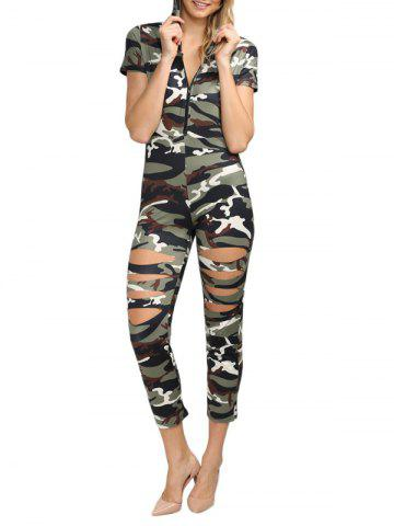 Outfits Hooded Allover Camouflage Cut Out Jumpsuit