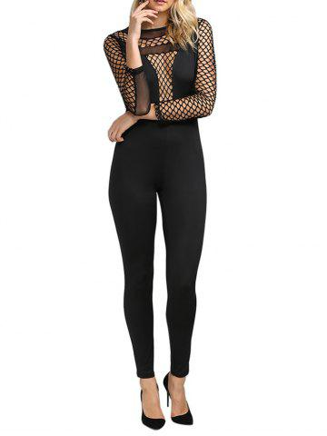 Cheap Sexy Round Collar Hollow Out Sheer Women Skinny Jumpsuit