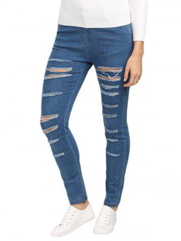 Fancy Mid Waisted Ripped Skinny Jeans BLUE M