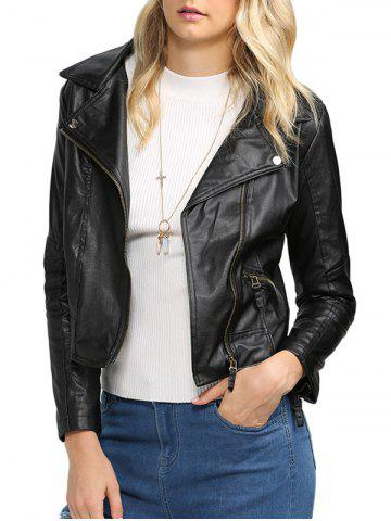 New Trendy Turn Down Collar Women Biker Jacket
