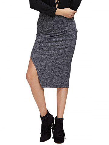 Affordable Chic High Waist Pure Color Slit Women Skirt GRAY M