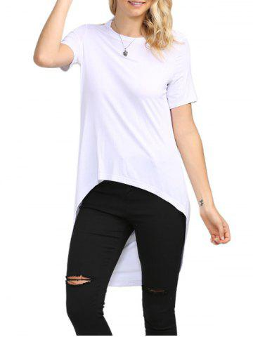 Discount Sexy Backless Solid Color Asymmetrical Women T-Shirt WHITE M