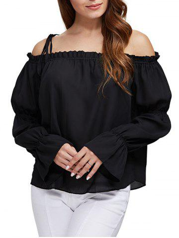 New Sexy Off The Shoulder Pure Color Latern Sleeve Women Chiffon Blouse