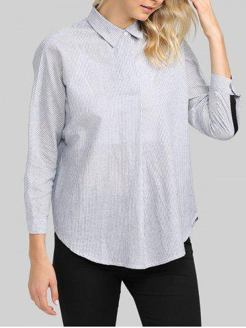 Online Casual Turn Down  Collar Striped Loose Women Shirt
