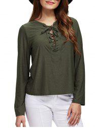 Chic Round Collar Front Criss Cross Loose Women Blouse