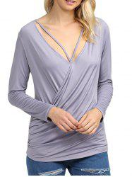 Simple V Neck Solid Color Loose Women Wrap T-Shirt