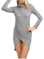 Brief Turtleneck Rib Knitted Asymmetrical Women Mini Dress - LIGHT GRAY
