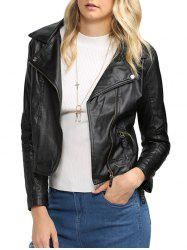 Trendy Turn Down Collar Women Biker Jacket - BLACK