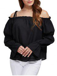 Sexy Off The Shoulder Pure Color Latern Sleeve Women Chiffon Blouse -