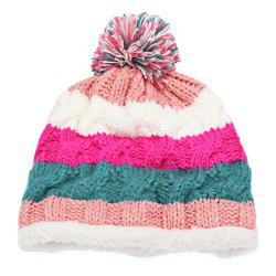 Casual Winter Color Block Venonat Design Warm Inside Knitted Hat for Girls - COLORMIX