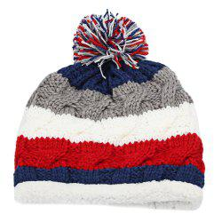Casual Winter Color Block Venonat Design Warm Inside Knitted Hat for Girls
