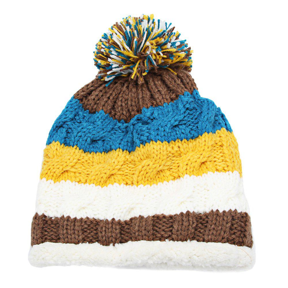 New Casual Winter Color Block Venonat Design Warm Inside Knitted Hat for Girls
