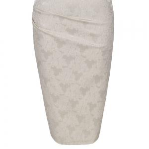 Round Collar Floral Embroidery Bandage Sheath Dress - APRICOT 3XL