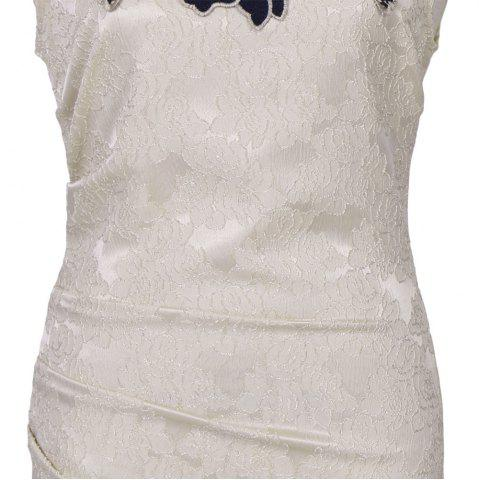 New Round Collar Floral Embroidery Bandage Sheath Dress - XL APRICOT Mobile