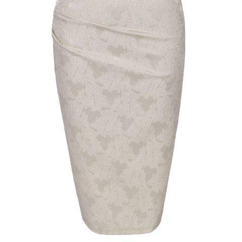New Round Collar Floral Embroidery Bandage Sheath Dress - 2XL APRICOT Mobile