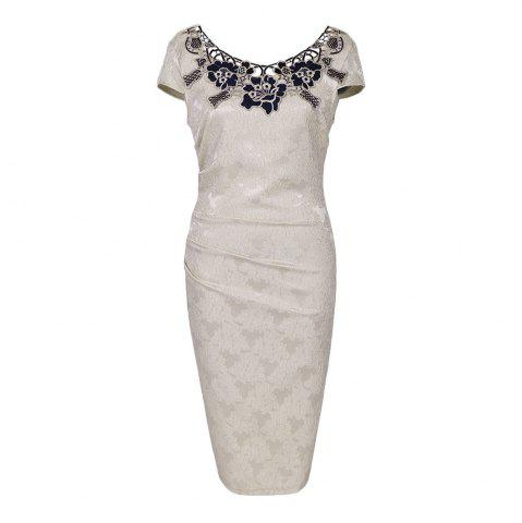 Latest Round Collar Floral Embroidery Bandage Sheath Dress - 2XL APRICOT Mobile
