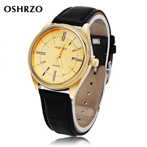 OSHRZO Men Quartz Watch Date Display Water Resistance Leather Band Wristwatch - Black Leather Band+gold Dial - 44