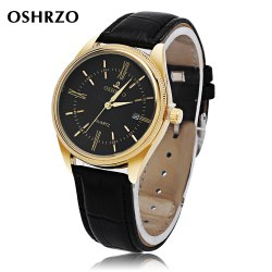 OSHRZO Men Quartz Watch Date Display Water Resistance Leather Band Wristwatch - BLACK LEATHER BAND+BLACK DIAL