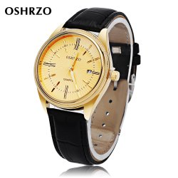 OSHRZO Men Quartz Watch Date Display Water Resistance Leather Band Wristwatch - BLACK LEATHER BAND+GOLD DIAL