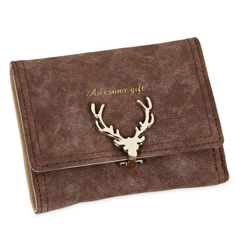 Fashion Women Short Section Christmas Elk Lock Three Fold Flip Frosted Wallet Purse