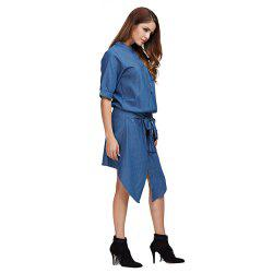 Casual Round Collar Sash Waist Button Design Women Chambray Shirt Dress