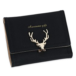 Women Short Section Christmas Elk Lock Three Fold Flip Frosted Wallet Purse - BLACK