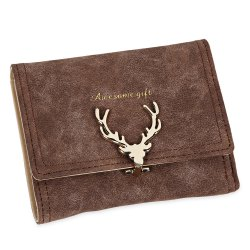 Women Short Section Christmas Elk Lock Three Fold Flip Frosted Wallet Purse