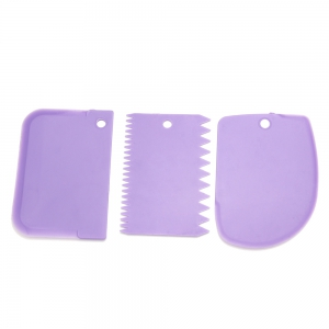 3 in 1 DIY Cake Fondant Smoother Scraper Baking Tools Dessert Molds - COLORMIX