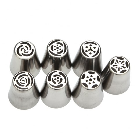 Latest 7pcs DIY Stainless Steel Buttercream Icing Piping Nozzles Baking Tools SILVER