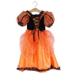 2pcs Halloween Gift Lace Flower Floral Print Geometric Striped Lace-up Round Collar Short Sleeve Cosplay Dress with Pumpkin Brooch -