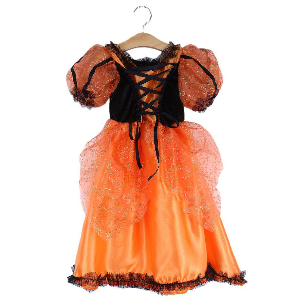 New 2pcs Halloween Gift Lace Flower Floral Print Geometric Striped Lace-up Round Collar Short Sleeve Cosplay Dress with Pumpkin Brooch