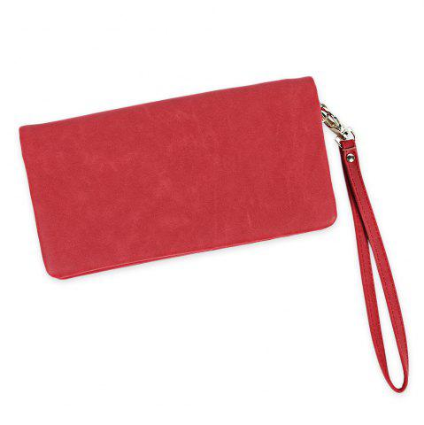 Zip Around Faux Suede Wristlet Wallet - RED