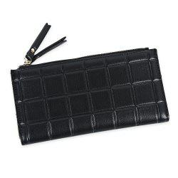 Embossed Fringed Bi Fold Zip Around Wallet - BLACK