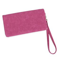 Zip Around Faux Suede Wristlet Wallet - ROSE MADDER