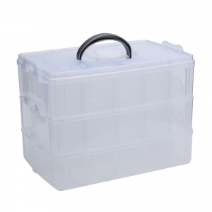 Big Sized Three Layers Removable Plastic Jewelry Bead Cosmetics Storage Box - Transparent