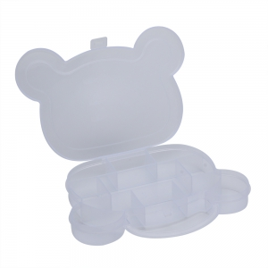 Lattice Bear Shape Plastic Transparent Jewelry Bead Storage Box -