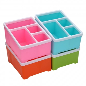 4 Compartments Cosmetics Desktop Remote Control Debris Classification Storage Box -