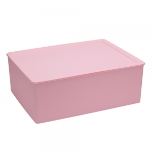 Plastic Underwear Socks Bra Closet Divider Storage Box with Cover - Pink