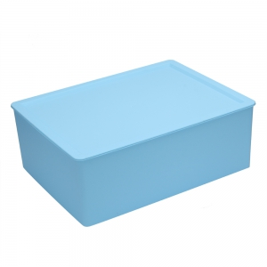 Plastic Underwear Socks Bra Closet Divider Storage Box with Cover - Blue