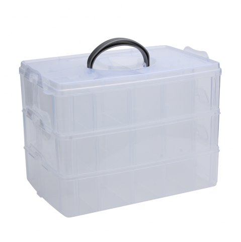 Sale Big Sized Three Layers Removable Plastic Jewelry Bead Cosmetics Storage Box - TRANSPARENT  Mobile