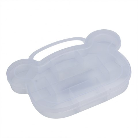 Online Lattice Bear Shape Plastic Transparent Jewelry Bead Storage Box - WHITE  Mobile
