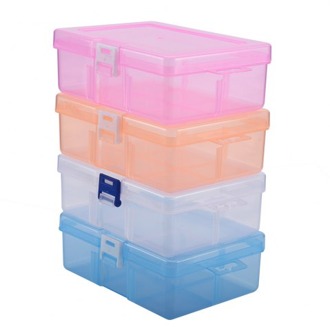 Fashion Transparent Plastic Jewelry Bead Cosmetics Storage Box - PINK  Mobile