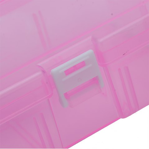 Hot Transparent Plastic Jewelry Bead Cosmetics Storage Box - PINK  Mobile